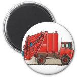 Camión de basura rojo imán para frigorífico