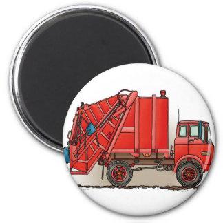 Camión de basura rojo imán redondo 5 cm