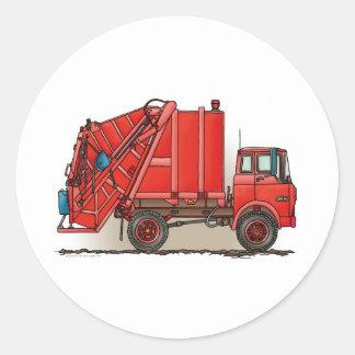 Camión de basura rojo pegatina redonda