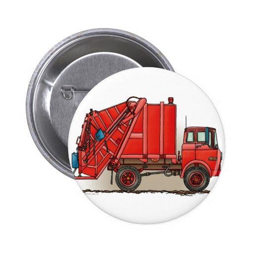 Camión de basura rojo pins