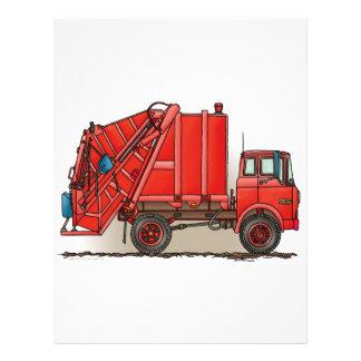 Camión de basura rojo plantilla de membrete