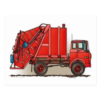 Camión de basura rojo postales