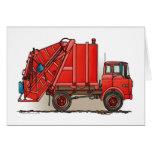 Camión de basura rojo tarjeton