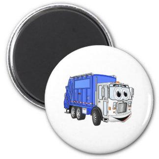 Camión de basura sonriente azul del dibujo animado imán redondo 5 cm