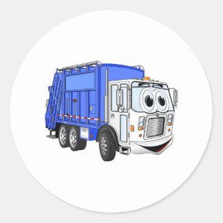 Camión de basura sonriente azul del dibujo animado pegatina redonda