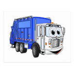 Camión de basura sonriente azul del dibujo animado postal