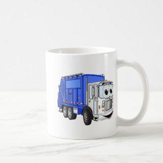 Camión de basura sonriente azul del dibujo animado tazas