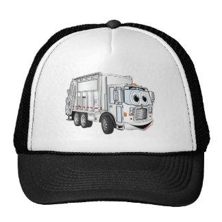 Camión de basura sonriente blanco del dibujo anima gorras de camionero