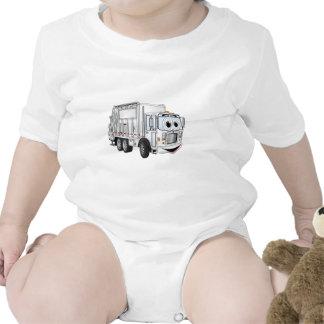 Camión de basura sonriente blanco del dibujo traje de bebé