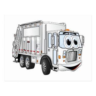 Camión de basura sonriente blanco del dibujo postal