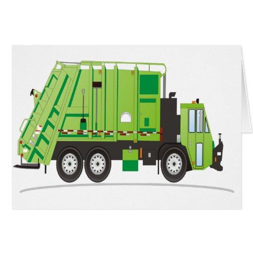 Camión de basura tarjeta de felicitación