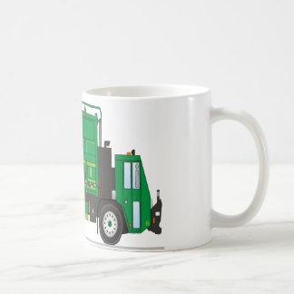 Camión de basura tazas de café