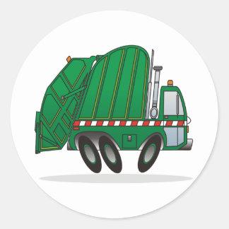 Camión de basura verde pegatina redonda