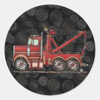 Camión de camión de auxilio lindo etiqueta redonda