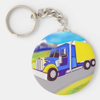 Camión de carga llavero redondo tipo pin