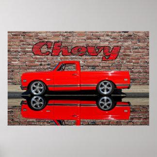 Camión de Chevy con la reflexión Póster