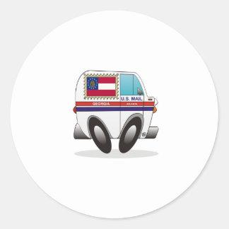 Camión de correo GEORGIA Etiqueta Redonda