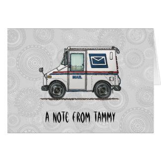 Camión de correo lindo tarjetón