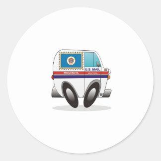 Camión de correo MINNESOTA Pegatina Redonda