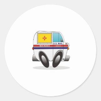 Camión de correo NEW MÉXICO Etiquetas Redondas