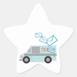 Camión de correo pegatina en forma de estrella