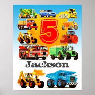 Camión de encargo de la construcción del nombre y póster