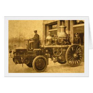Camión de la autobomba del coche de bomberos del tarjeta de felicitación