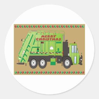 Camión de la basura pegatina redonda