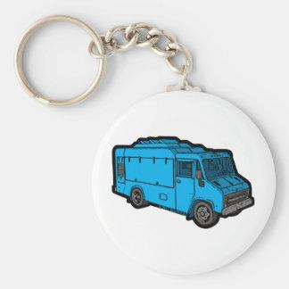 Camión de la comida: Básico (azul) Llaveros Personalizados