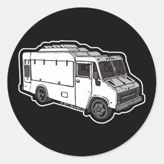 Camión de la comida: Básico (blanco) Etiquetas Redondas