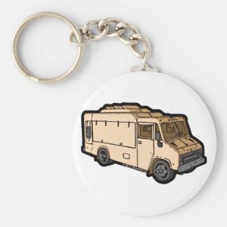 Camión de la comida: Básico (crema) Llavero Personalizado