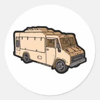 Camión de la comida: Básico (crema) Pegatina Redonda