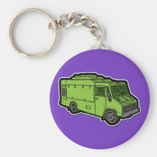 Camión de la comida: Básico (verde) Llavero Personalizado