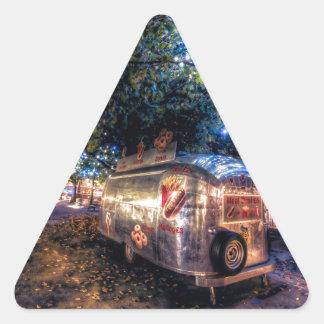 Camión de la comida de Southbank, Londres Pegatina Triangular