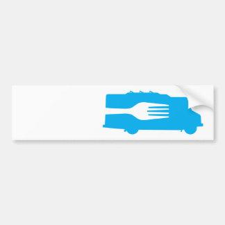 Camión de la comida: Lado/bifurcación (azul) Pegatina Para Auto