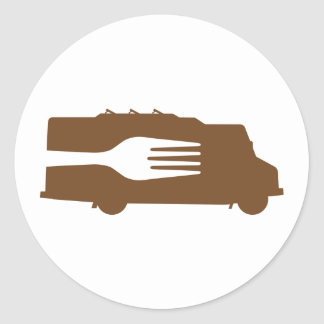 Camión de la comida: Lado/bifurcación (Brown) Etiquetas Redondas