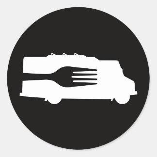 Camión de la comida: Lado/bifurcación Etiquetas Redondas