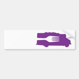 Camión de la comida: Lado/bifurcación (púrpura) Pegatina Para Auto