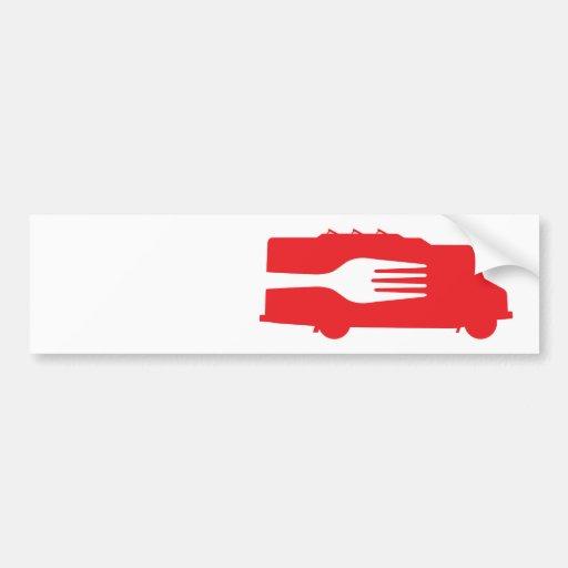 Camión de la comida: Lado/bifurcación (roja) Pegatina De Parachoque