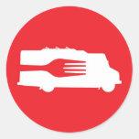 Camión de la comida: Lado/bifurcación (roja) Pegatina Redonda