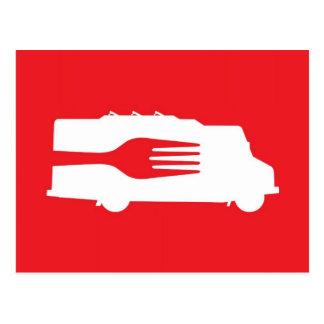 Camión de la comida: Lado/bifurcación (roja) Tarjeta Postal