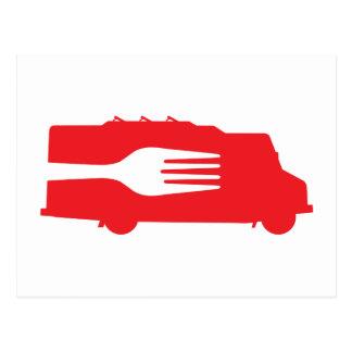 Camión de la comida: Lado/bifurcación (roja) Postales