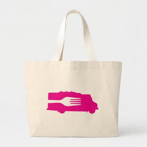 Camión de la comida: Lado/bifurcación (rosa) Bolsa Tela Grande