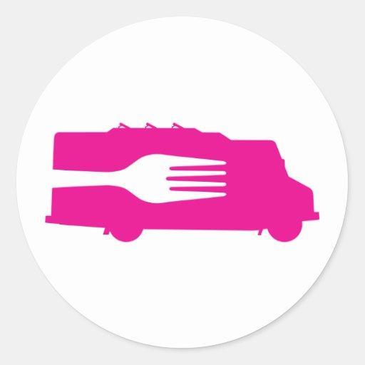 Camión de la comida: Lado/bifurcación (rosa) Pegatina Redonda