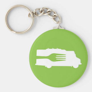 Camión de la comida: Lado/bifurcación (verde) Llavero Redondo Tipo Pin