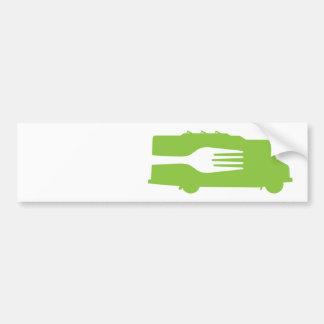 Camión de la comida: Lado/bifurcación (verde) Pegatina Para Auto