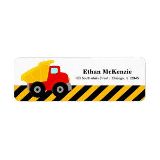 Camión de la construcción etiqueta de remitente