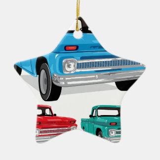 Camión de la granja de la recogida adorno navideño de cerámica en forma de estrella
