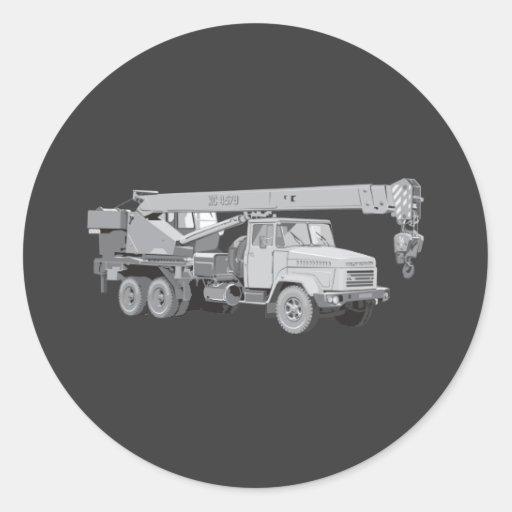 Camión de la grúa pegatina redonda