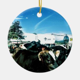 camión de la leche adorno navideño redondo de cerámica